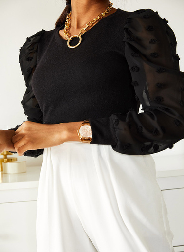 XHAN Siyah Kolları Pon Pon Detaylı Bluz 1Kxk2-44535-02 Siyah